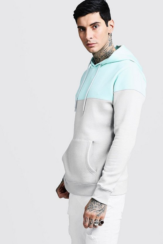 Mens Aqua Colour Block Over The Head Hoodie