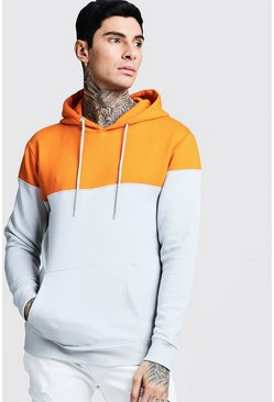 Orange Colour Block Over The Head Hoodie