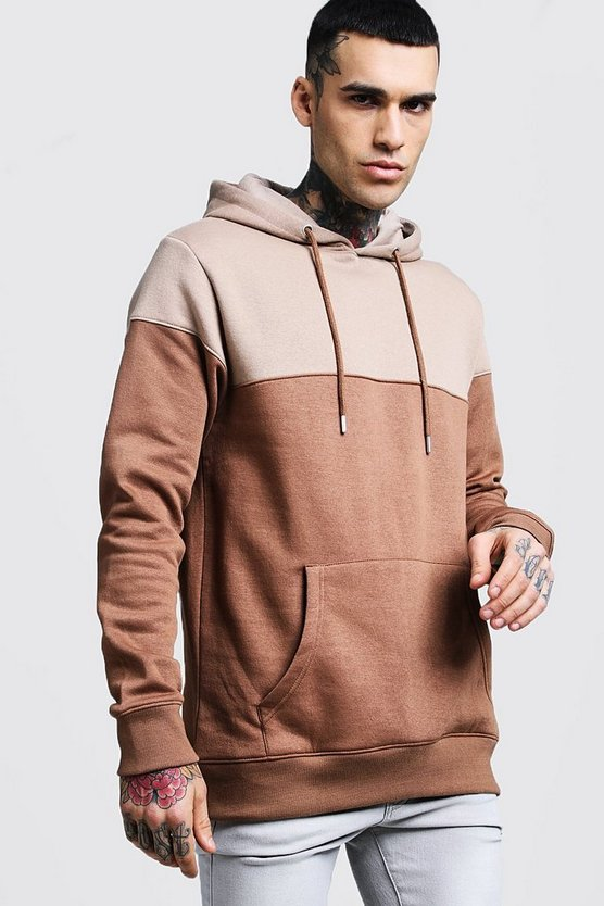 Colour Block Over The Head Hoodie, Taupe, Uomo