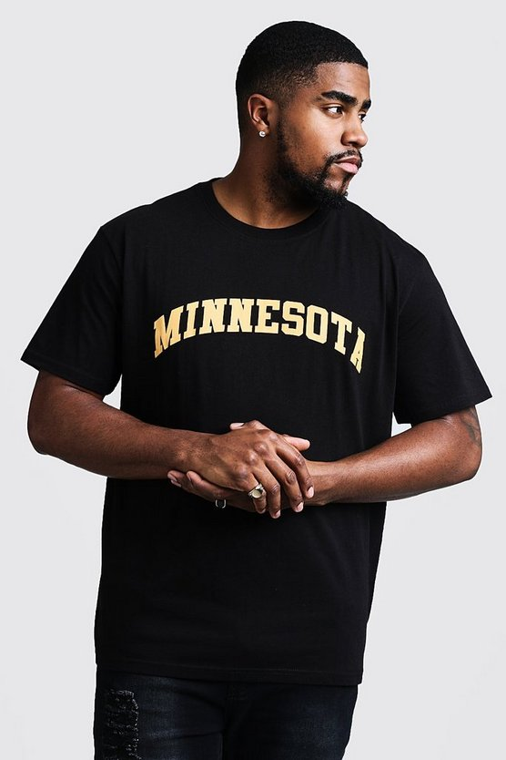 Mens Black Big & Tall Minnesota Print T-Shirt