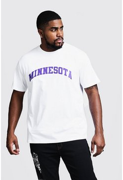 Mens White Big & Tall Minnesota Print T-Shirt