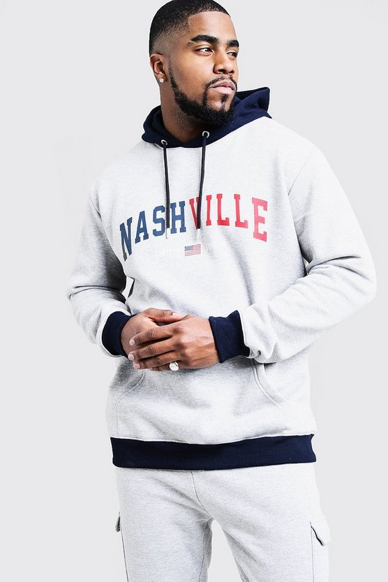 Mens Grey marl Big & Tall Nashville Print Hoodie