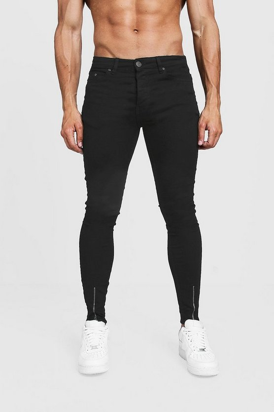 Black Super Skinny Jeans With Zipped Hem
