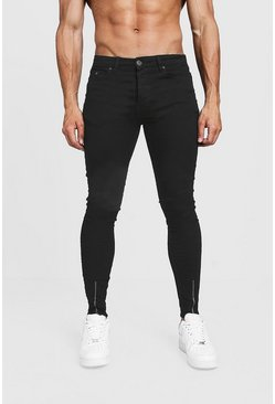 Super Skinny Jeans With Zipped Hem, Black, Uomo