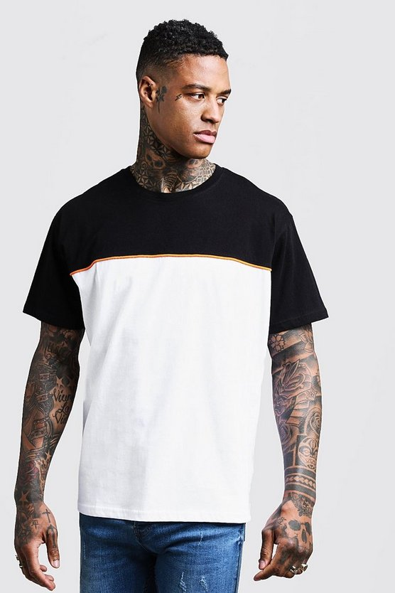 Mens Black Loose Fit Colour Block Chest Panel Tee With Piping