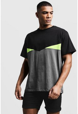 Mens Black Loose Fit Panelled Jersey Tee