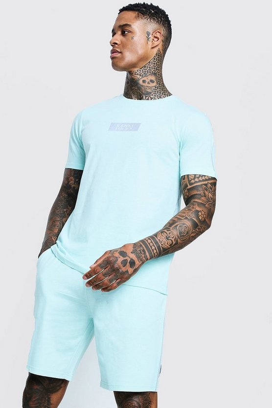 Aqua Reflective MAN Box T-Shirt & Short Set