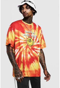 Oversized T-Shirt in Batik-Optik mit Grafik, Orange, Herren