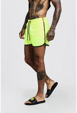 Mens Yellow Neon Swim Short In Runner Length