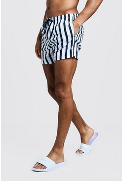 Navy Stripe Swim Short In Mid Length