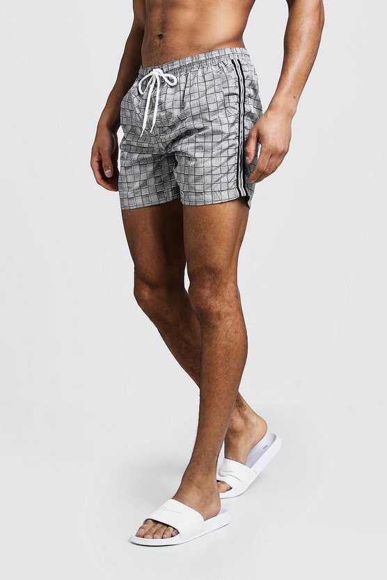 Mens Black Check Print Swim Short With Side Tape