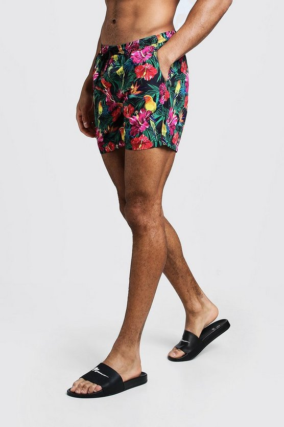 Mens Black Tropical Print Swim Short In Mid Length