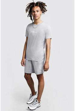 Mens Light grey MAN Signature Reflective T-Shirt & Short Set