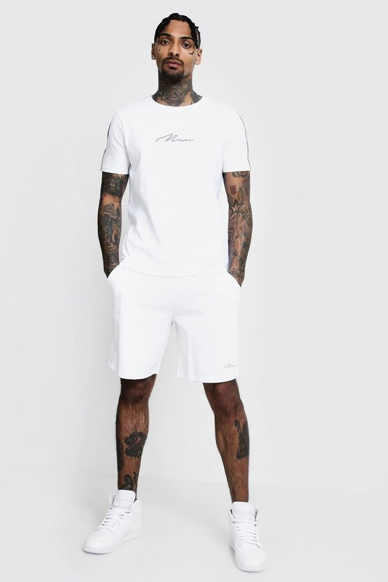 White MAN Signature Reflective T-Shirt & Short Set