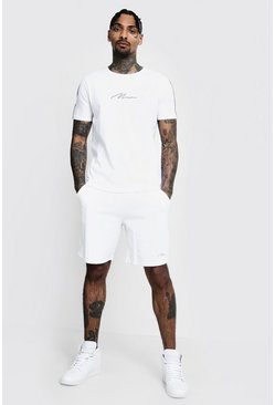 Mens White MAN Signature Reflective T-Shirt & Short Set