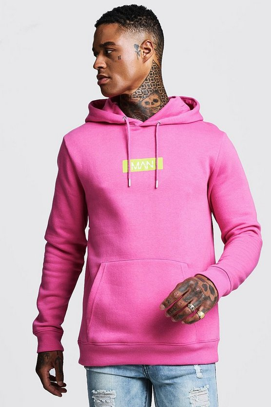 Mens Bright pink MAN Box Logo Print Hoodie
