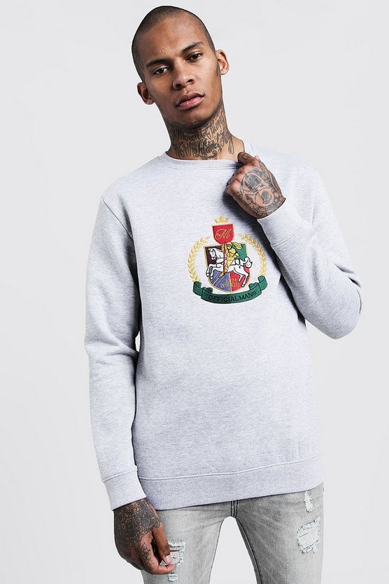 Mens Grey Herald MAN Embroidered Sweater