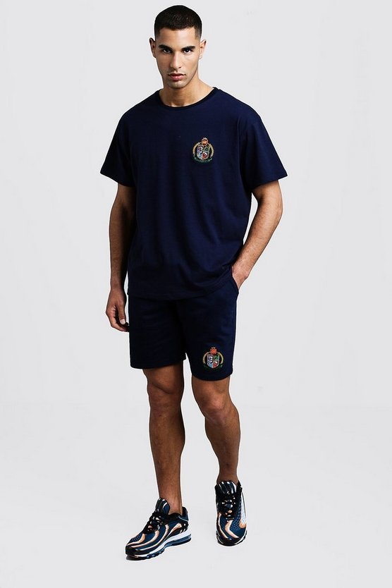 Mens Navy Herald MAN T-Shirt & Short Set