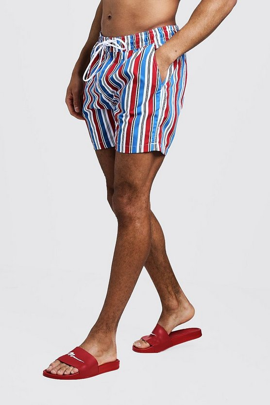 Mens White Mid Length Multi Stripe Swim Short
