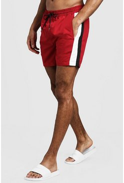 Mens Red Mid Length Swim Short With Side Panel