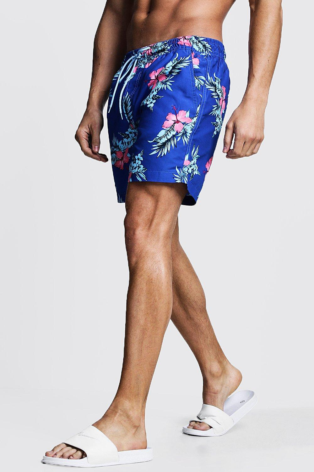 Mid Length Hawaiian Print Swim Short