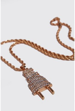 Mens Gold Plug Pendant Jewelled Necklace