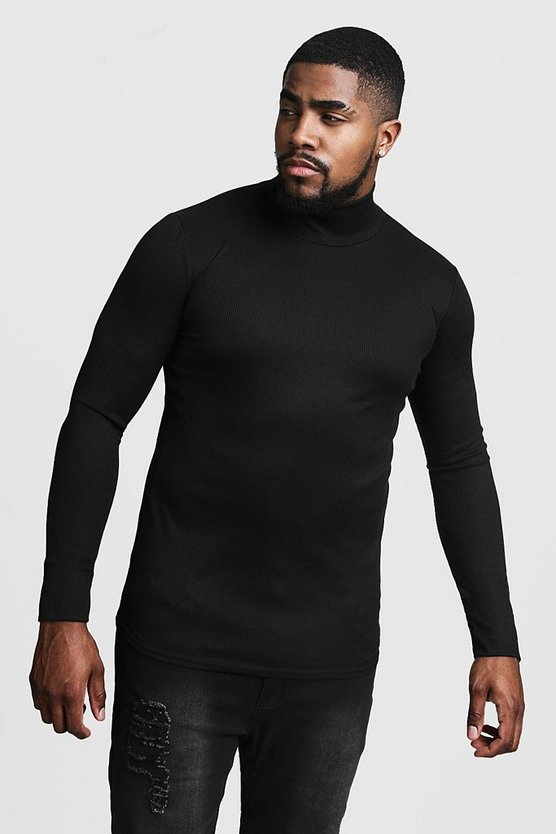 Big & Tall Ribbed Turtle Neck Jumper