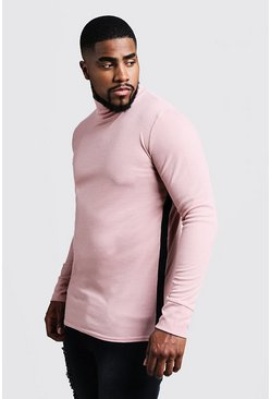 Herr Dusky pink Big & Tall Ribbed Turtle Neck Jumper