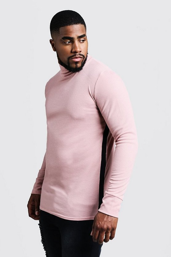 Mens Dusky pink Big & Tall Ribbed Turtle Neck Sweater
