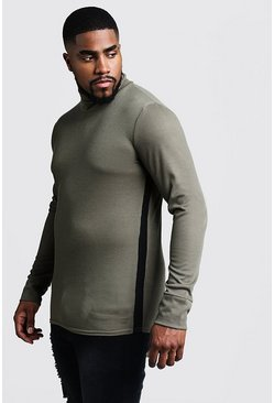 Mens Khaki Big & Tall Ribbed Turtle Neck Sweater