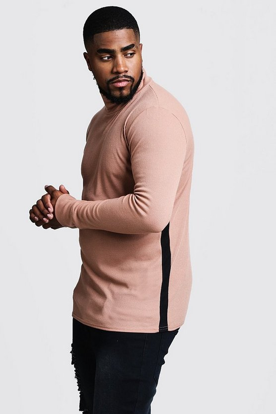 Mens Camel Big & Tall Ribbed Turtle Neck Jumper