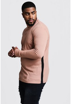 Herr Camel Big & Tall Ribbed Turtle Neck Jumper