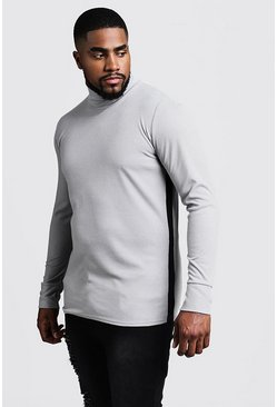 Mens Grey Big & Tall Ribbed Turtle Neck Sweater