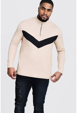 Mens Camel Big And Tall Half Zip Chevron Knitted Jumper