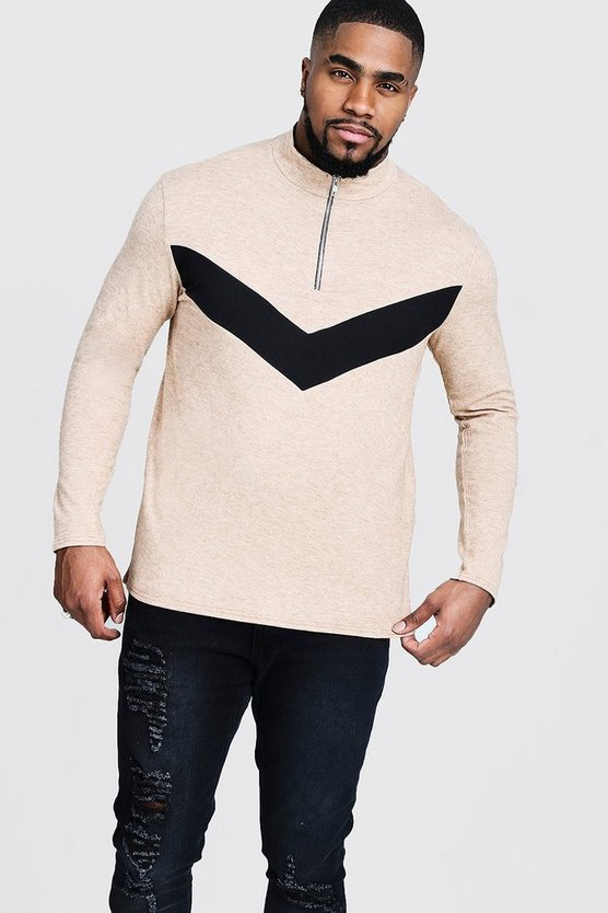 Big And Tall Half Zip Chevron Knitted Jumper, Camel, Uomo