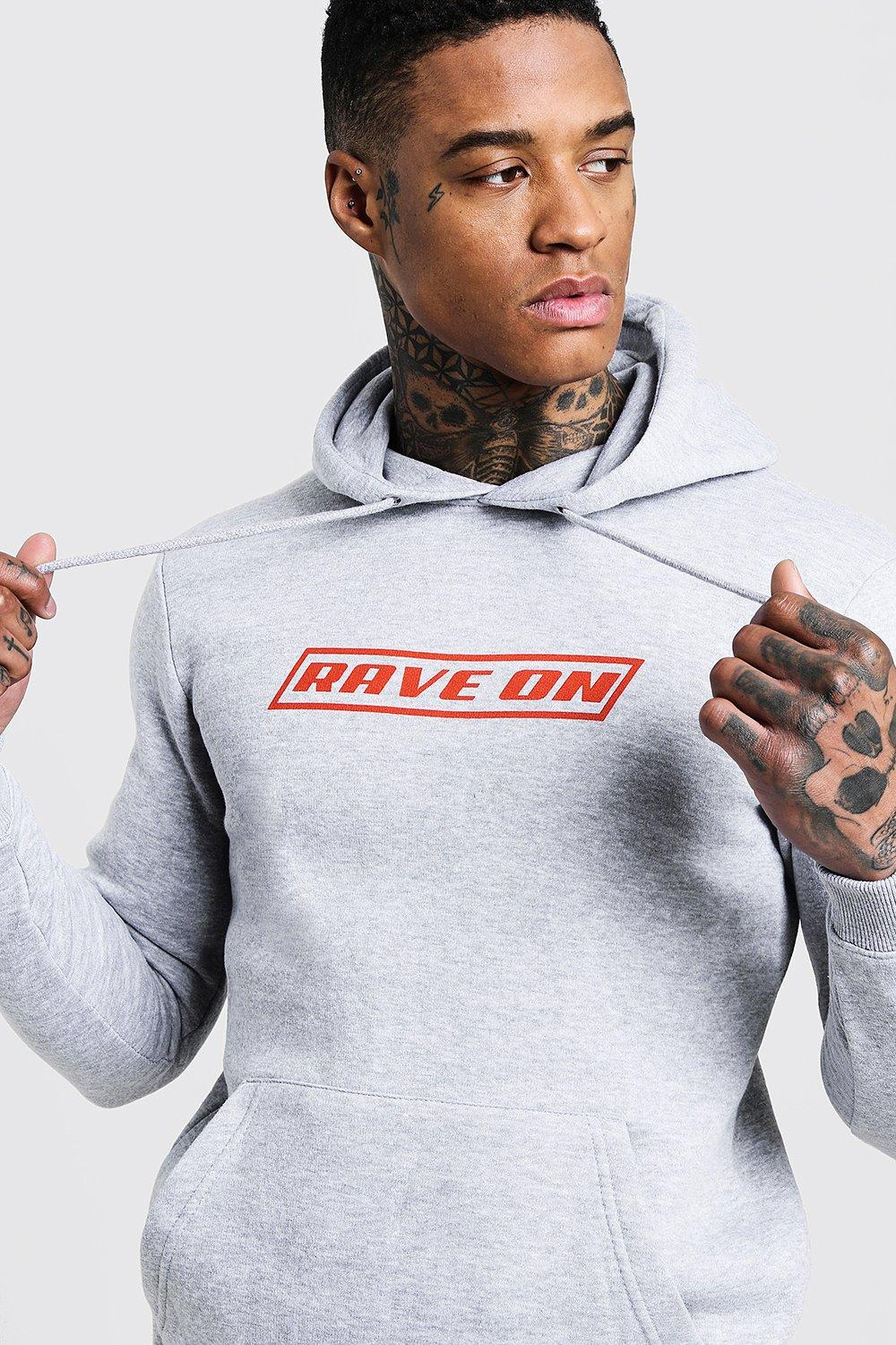 Rave On Print Slogan Over The Head Hoodie