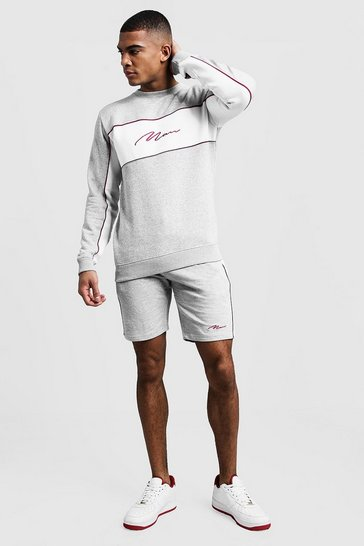 Mens Grey MAN Signature Contrast Panel Short Tracksuit