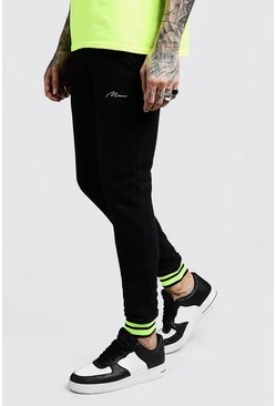 Mens Black MAN Signature Skinny Joggers With Rib