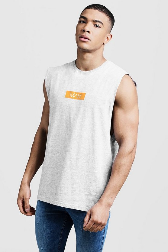 Mens Grey MAN Box Logo Drop Armhole TANK