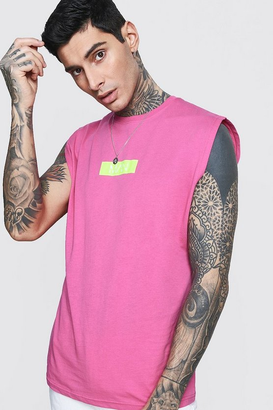 Bright pink MAN Box Logo Drop Armhole Tank