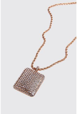 Mens Gold Flat Square Jewelled Chain Necklace