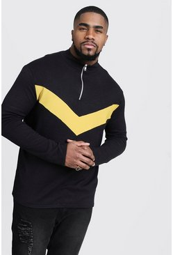Mens Black Big And Tall Half Zip Chevron Knitted Jumper