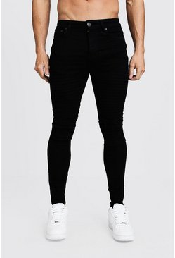 Herr Black Super Skinny Distressed Biker Jeans With Zip Hem