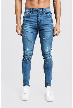 Herr Mid blue Super Skinny Distressing Biker With Zip Hem