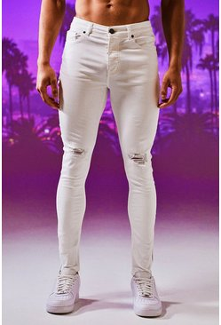 Super Skinny Ripped Knee Jeans With Zip Hem, White, Uomo
