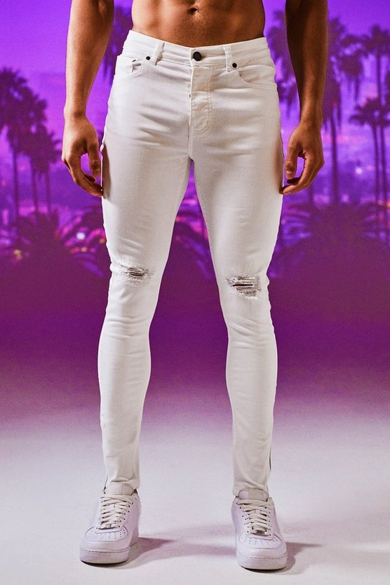 Mens White Super Skinny Ripped Knee Jeans With Zip Hem