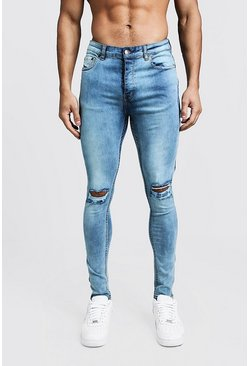 Super Skinny Ripped Knee Jeans With Zip Hem, Washed blue, Uomo