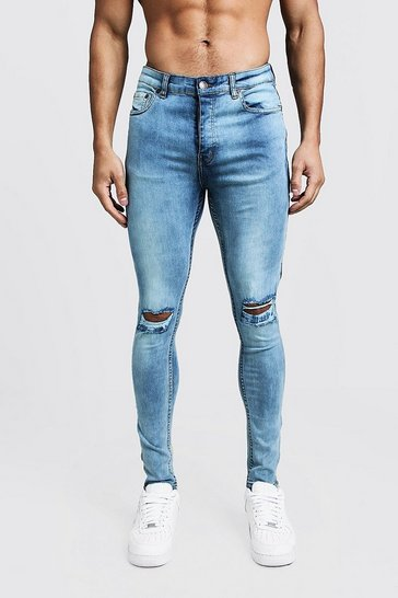 Mens Washed blue Super Skinny Ripped Knee Jeans With Zip Hem