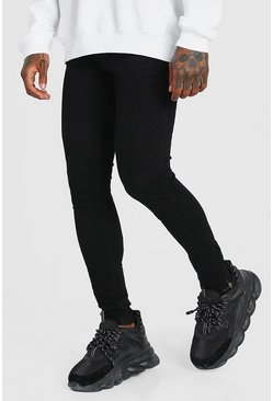Mens Black Super Skinny All Over Ripped Jeans With Zip Hem