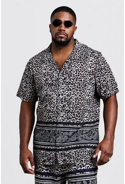 Mens Brown Big & Tall Animal Print Jersey Shorts